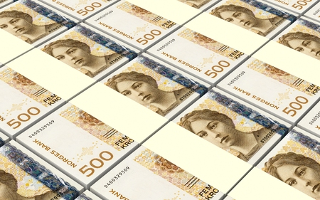norwegian: Norwegian krone bills stacks background. 3D illustration.