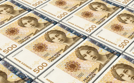 withdraw: Norwegian krone bills stacks background. 3D illustration.