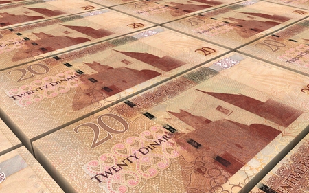 profitability: Libyan dinar bills stacked background. 3D illustration.