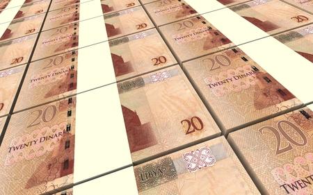 dinar: Libyan dinar bills stacked background. 3D illustration.