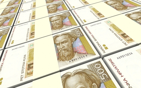 marten: Croatian kuna bills stacks background. 3D illustration.