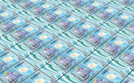 vanuatu: Vanuatu vatu bills stacked background. 3D illustration. Stock Photo