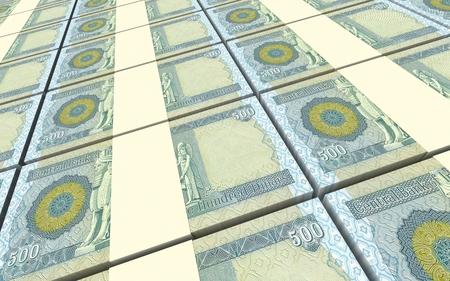 iraqi: Iraqi dinars bills stacked background. 3D illustration.