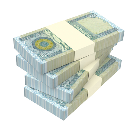 Iraqi dinars bills isolated on white background. 3D illustration.