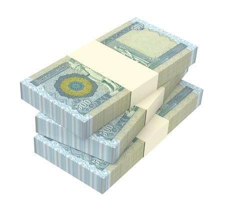 iraqi: Iraqi dinars bills isolated on white background. 3D illustration.