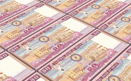 reserve: Omani rials bills stacked background. 3D illustration.