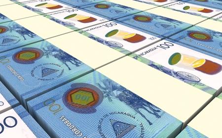 packaged: Nicaraguan cordoba bills stacks background. 3D illustration.