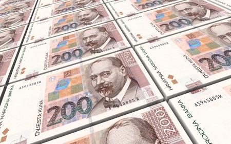 croatian: Croatian kuna bills stacks background. 3D illustration.