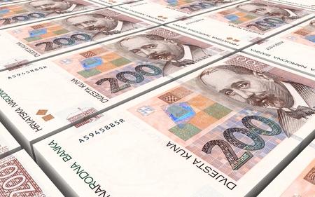 reserve: Croatian kuna bills stacks background. 3D illustration.