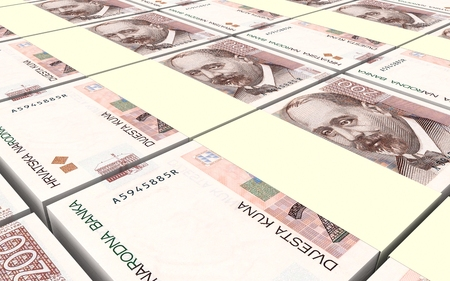 marten: Croatian kuna bills stacks background. 3D illustration.
