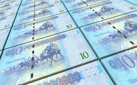prespective: Libyan dinar bills stacked background. 3D illustration.