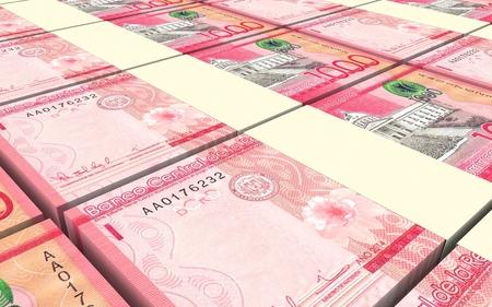 signo de pesos: Dominicana billetes pesos apilados fondo. Ilustración 3D. Foto de archivo