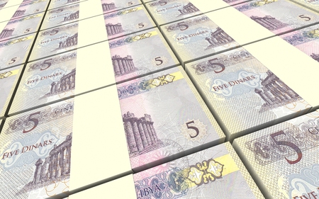 arabic currency: Libyan dinar bills stacked background. 3D illustration.