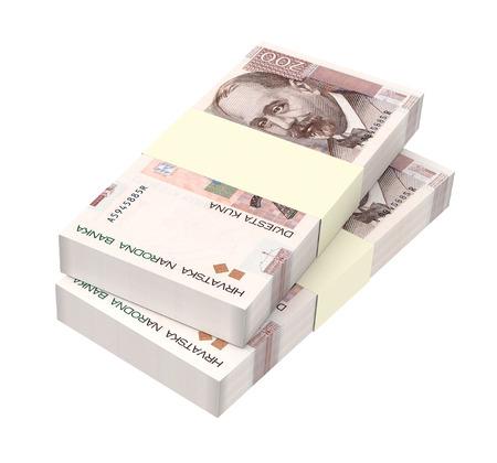 marten: Croatian kuna bills isolated on white background. 3D illustration.