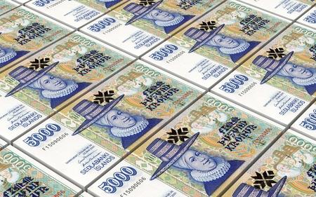 icelandic: Icelandic krona bills stacks background. 3D illustration.