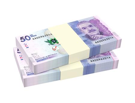 pesos colombiens factures isolé sur fond blanc. illustration 3D.
