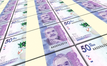 packaged: Colombian pesos bills stacks background. 3D illustration. Stock Photo