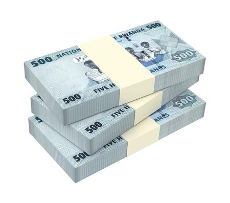 kigali: Rwandan francs bills isolated on white background. 3D illustration.