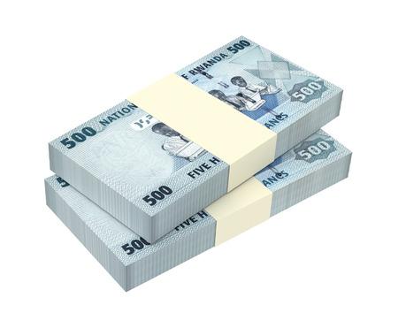 reserve: Rwandan francs bills isolated on white background. 3D illustration.