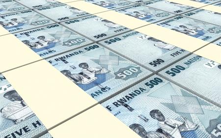 kigali: Rwandan francs bills stacked background. 3D illustration. Stock Photo