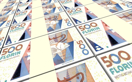 florin: Aruban florin bills stacks background. 3D illustration.