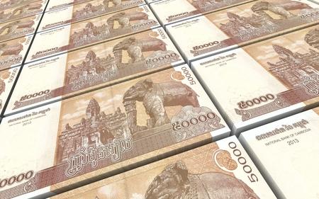 Cambodia riels bills stacks background. 3D illustration.