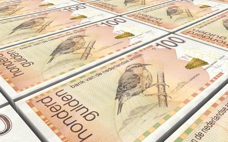 worth: Netherlands Antillean guilder bills stacks background. 3D illustration.