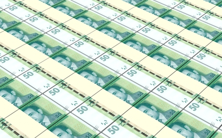 profitability: Moroccan dirhams bills stacks background. 3D illustration.