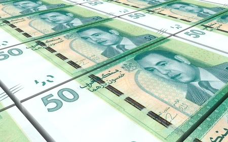 prespective: Moroccan dirhams bills stacks background. 3D illustration.