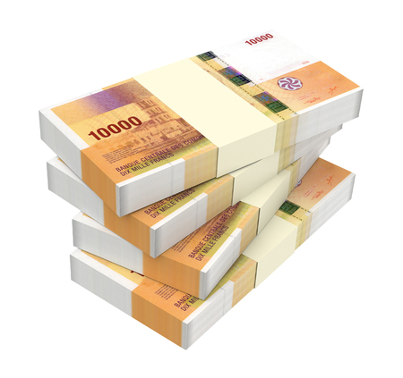worth: Comorian franc bills isolated on white background. 3D illustration. Stock Photo