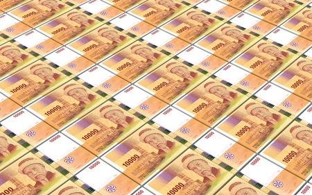 worth: Comorian franc bills stacks background. 3D illustration. Stock Photo