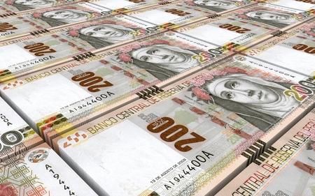 peruvian: Peruvian nuevos soles bills stacks background. 3D illustration.