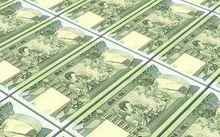 ethiopian: Ethiopian birr bills stacks background. 3D illustration.