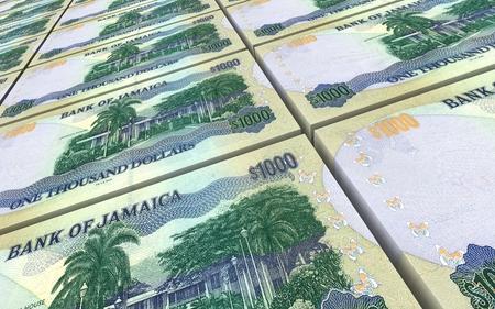 worth: Jamaican dollar bills stacks background. 3D illustration Stock Photo