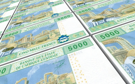 chad: Central African CFA franc bills stacked background. 3D illustration.