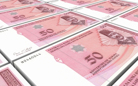 prespective: Bosnia and Herzegovina convertible mark bills stacks background. 3D illustration.
