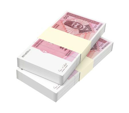 profitability: Bosnia and Herzegovina convertible mark bills isolated on white background. 3D illustration.