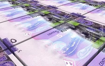 arabic currency: Kuwait dinars bills stacks background. 3D illustration.