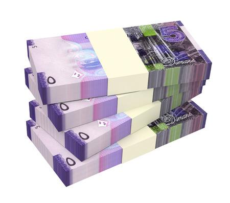 profitability: Kuwait dinars bills isolated on white background. 3D illustration.