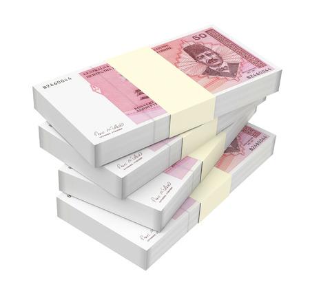 prespective: Bosnia and Herzegovina convertible mark bills isolated on white background. 3D illustration.