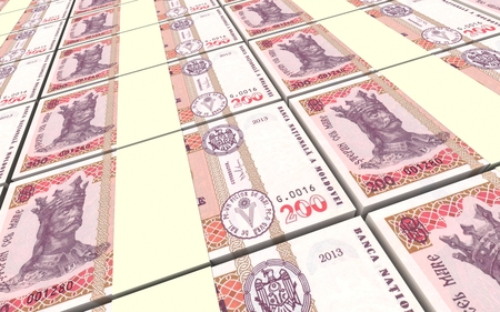 profitability: Moldovan leu bills stacks background. 3D illustration. Stock Photo