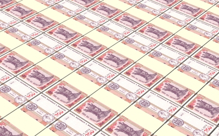 prespective: Moldovan leu bills stacks background. 3D illustration. Stock Photo