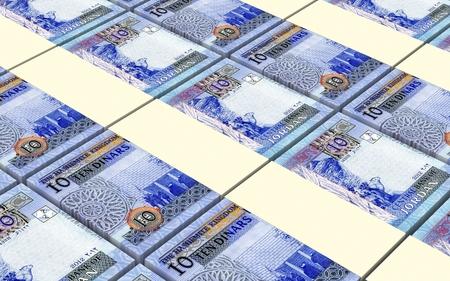 arabic currency: Jordanian dinars bills stacked background. 3D illustration.