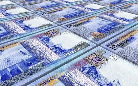 dinar: Jordanian dinars bills stacked background. 3D illustration.