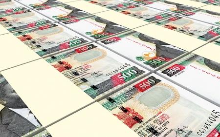 profitability: Kenyan shillings bills stacks background. 3D illustration
