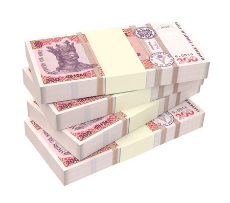 prespective: Moldovan leu bills isolated on white background. 3D illustration.
