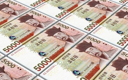 won: Korean won bills stacks background. 3D illustration.