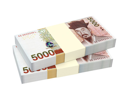 Korean won bills isolated on white background. 3D illustration.