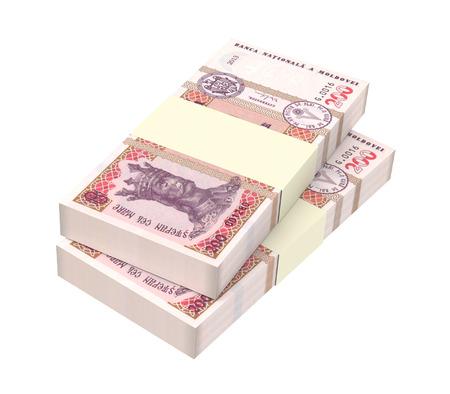 leu: Moldovan leu bills isolated on white background. 3D illustration.