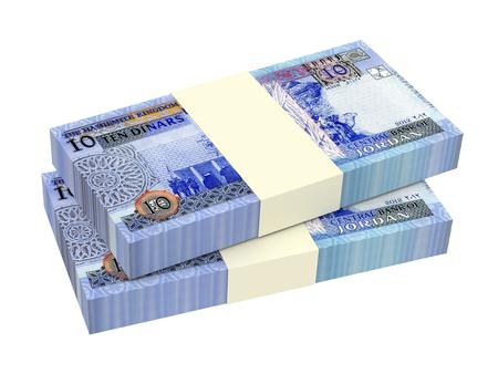 dinar: Jordanian dinars bills isolated on white background. 3D illustration. Stock Photo